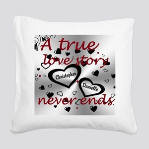 True Love Story Square Canvas Pillow