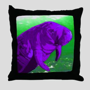 Manatee purple Throw Pillow