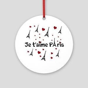 Cute French I LOVE PARIS Ornament (Round)