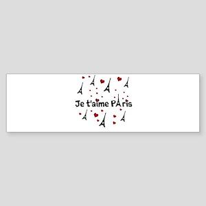 Cute French I LOVE PARIS Bumper Sticker