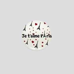 Cute French I LOVE PARIS Mini Button