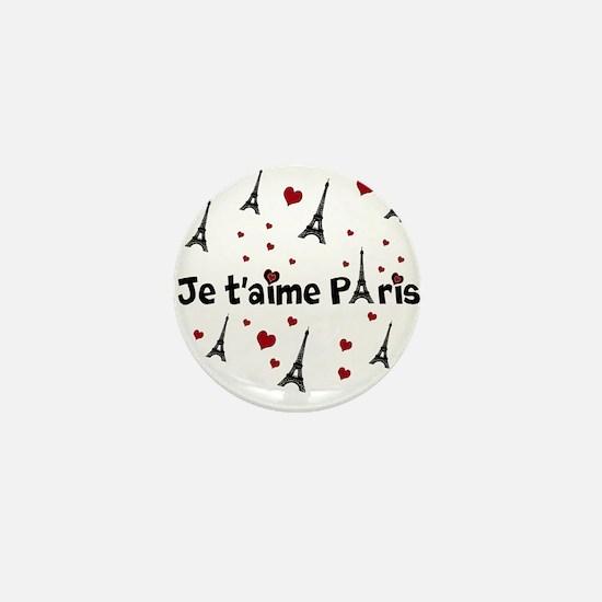Cute French I LOVE PARIS Mini Button