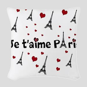 Cute French I LOVE PARIS Woven Throw Pillow