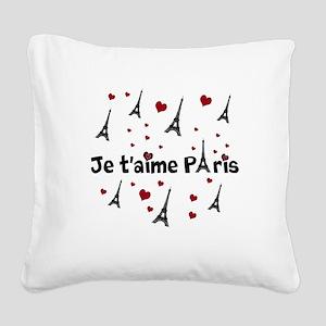Cute French I LOVE PARIS Square Canvas Pillow