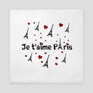 Cute French I LOVE PARIS Queen Duvet