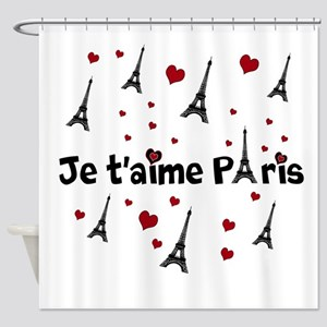 Cute French I LOVE PARIS Shower Curtain