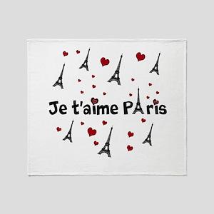 Cute French I LOVE PARIS Throw Blanket