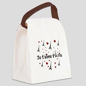 Cute French I LOVE PARIS Canvas Lunch Bag