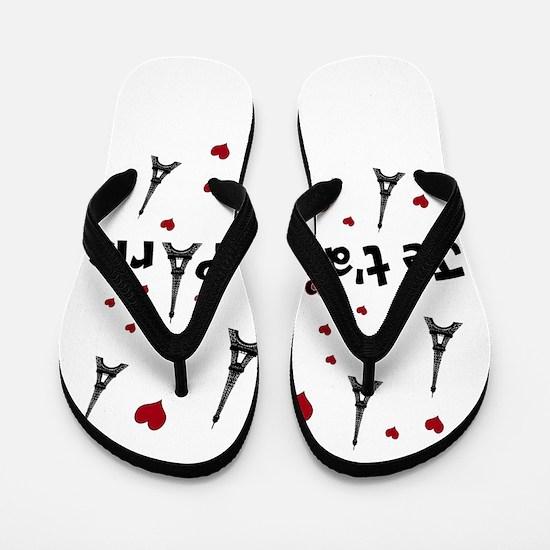 Cute French I LOVE PARIS Flip Flops