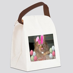Easter Orange Tabby Cat Canvas Lunch Bag