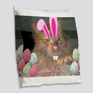 Easter Orange Tabby Cat Burlap Throw Pillow