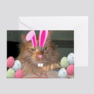 Easter Orange Tabby Cat Greeting Cards
