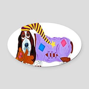 Basset Hound Bedtime Oval Car Magnet