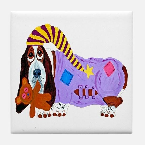 Basset Hound Bedtime Tile Coaster