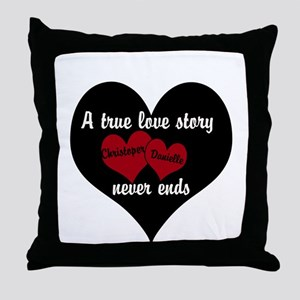 Personalize True Love Story Throw Pillow