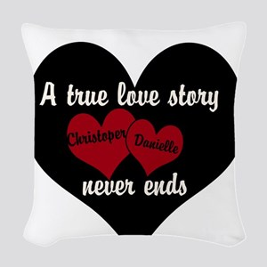 Personalize True Love Story Woven Throw Pillow