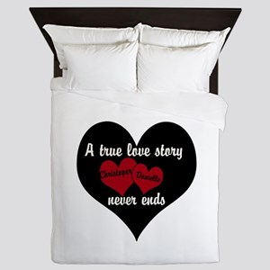 Personalize True Love Story Queen Duvet