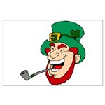 Laughing Leprechaun with Pipe Posters