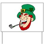 Laughing Leprechaun with Pipe Yard Sign