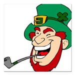 Laughing Leprechaun with Pipe Square Car Magnet 3