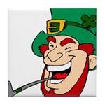 Laughing Leprechaun with Pipe Tile Coaster