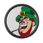 Laughing Leprechaun with Pipe Large Wall Clock