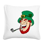 Laughing Leprechaun with Pipe Square Canvas Pillow