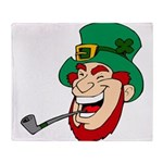 Laughing Leprechaun with Pipe Throw Blanket