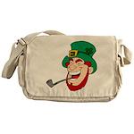 Laughing Leprechaun with Pipe Messenger Bag