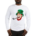 Laughing Leprechaun with Pipe Long Sleeve T-Shirt