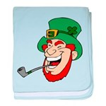Laughing Leprechaun with Pipe baby blanket