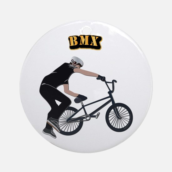 BMX With Text Ornament (Round)