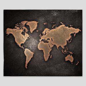 Vintage World Map King Duvet