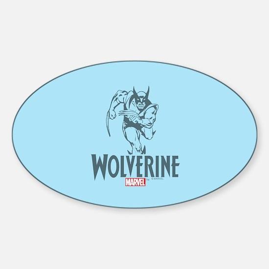 Blue Wolverine Sticker (Oval)