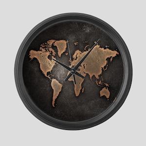 Vintage World Map Large Wall Clock