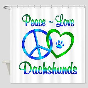 Peace Love Dachshunds Shower Curtain