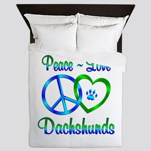 Peace Love Dachshunds Queen Duvet