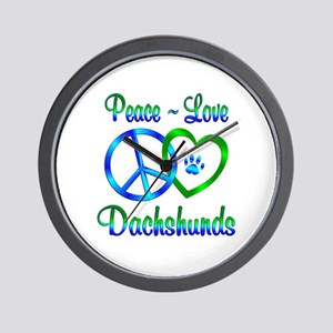 Peace Love Dachshunds Wall Clock