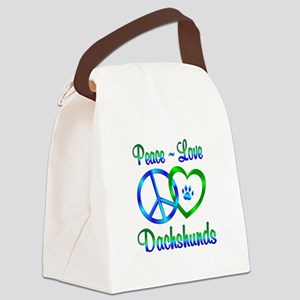 Peace Love Dachshunds Canvas Lunch Bag