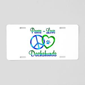 Peace Love Dachshunds Aluminum License Plate