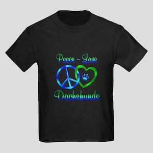 Peace Love Dachshunds Kids Dark T-Shirt
