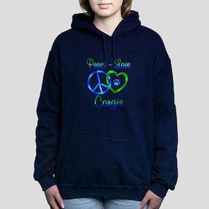 Peace Love Corgis Hooded Sweatshirt