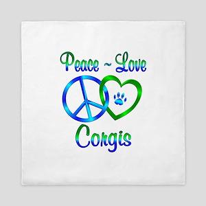 Peace Love Corgis Queen Duvet