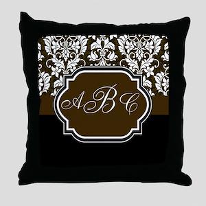 Initials Damask Design Throw Pillow