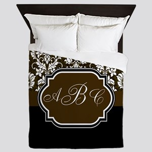Initials Damask Design Queen Duvet
