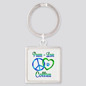 Peace Love Collies Square Keychain