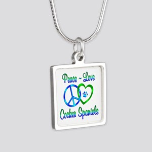 Peace Love Cocker Spaniels Silver Square Necklace
