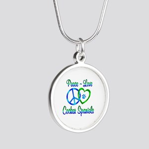 Peace Love Cocker Spaniels Silver Round Necklace
