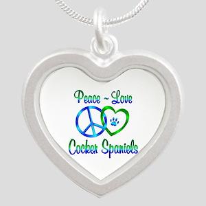 Peace Love Cocker Spaniels Silver Heart Necklace