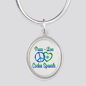 Peace Love Cocker Spaniels Silver Oval Necklace